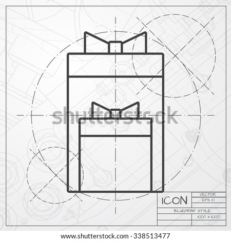 Vector Blueprint Of Two Presents Icon On Engineer Or Architect Background