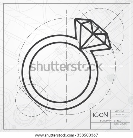 Vector Blueprint Of Wedding Ring Icon On Engineer Or Architect Background