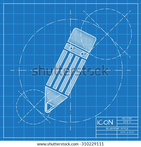 Vector blueprint pencil icon . Engineer and architect background.  - stock vector