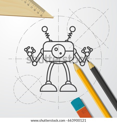 Vector blueprint retro robot toy icon vectores en stock 663900121 vector blueprint retro robot toy icon on engineer and architect background malvernweather Images