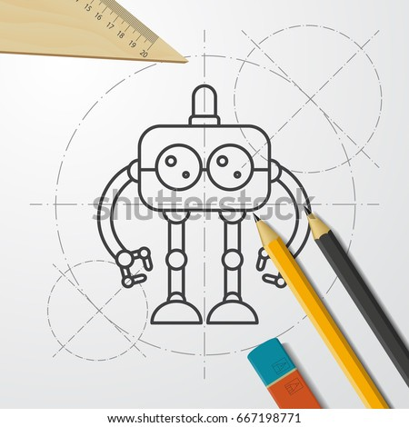Vector blueprint retro robot toy icon stock vector 667198771 vector blueprint retro robot toy icon on engineer and architect background malvernweather Images