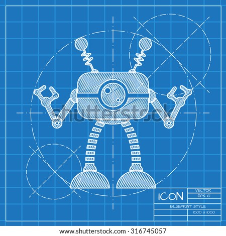 Vector blueprint retro robot toy icon vectores en stock 316745057 vector blueprint retro robot toy icon on engineer or architect background malvernweather Images