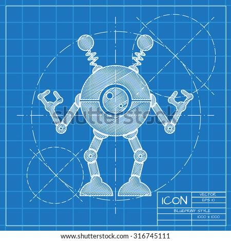 Robot blueprint stockbilder und bilder und vektorgrafiken ohne vector blueprint retro robot toy icon on engineer or architect background malvernweather Choice Image