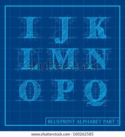 vector blueprint style font alphabet set 2 - stock vector