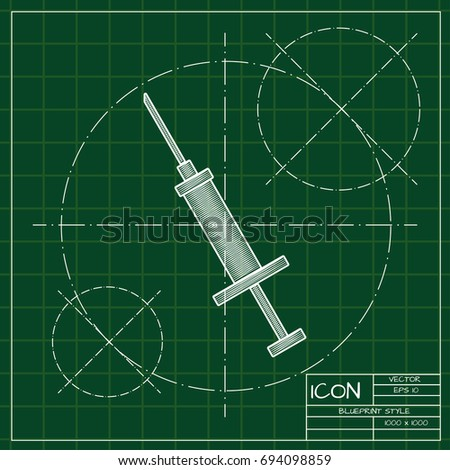 Vector blueprint syringe icon on engineer and architect background
