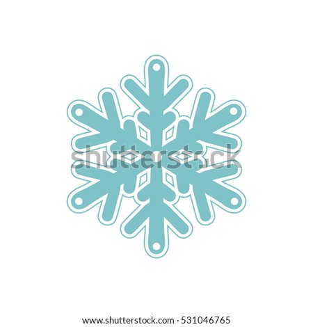 Vector bluish snowflakes icon with thin stroke line isolated on white background