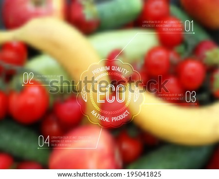 Vector blurred background with fruits, vegetables and eco label - stock vector