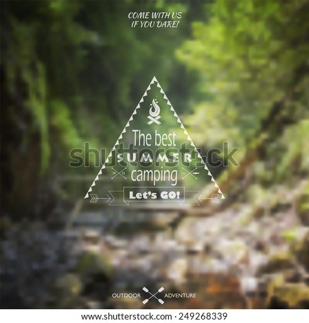 Vector blurred landscape background with summer forest camping label on it. Travel themed Summer Camp Outlined Vector Illustration. Camping wilderness adventure badge graphic design logo emblem. - stock vector