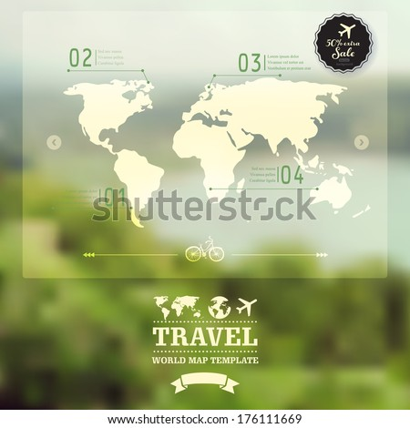 Vector blurred natural landscape.  Map on blurry background. Identity. Travel, enjoy nature concept. Web, mobile interface template. Corporate website design. Backdrop. Blurred - stock vector