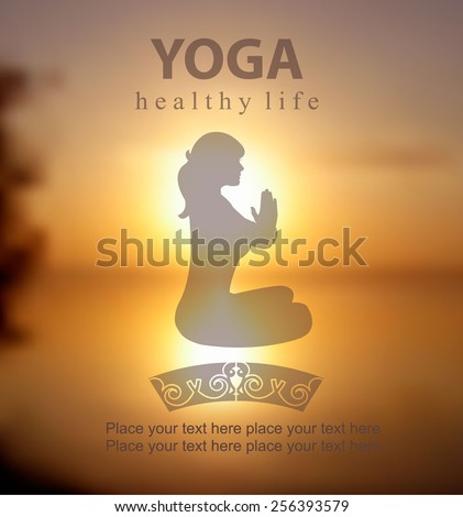 Vector blurred sunset background with  Silhouette of Young Woman Practicing Yoga In the Lotus Position, her hands in prayer  Yoga class. Yoga exercises and recreation. Healthy Lifestyle Concept - stock vector