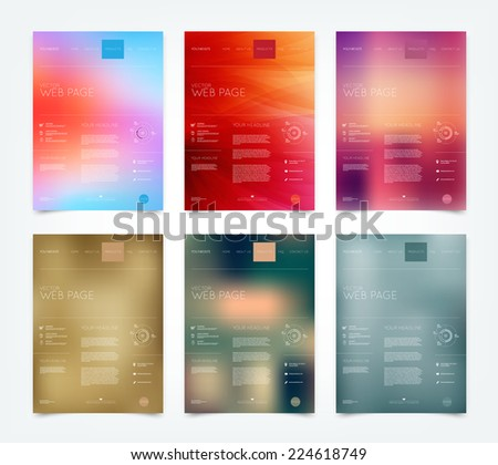 Vector blurry bokeh website design templates collection - stock vector