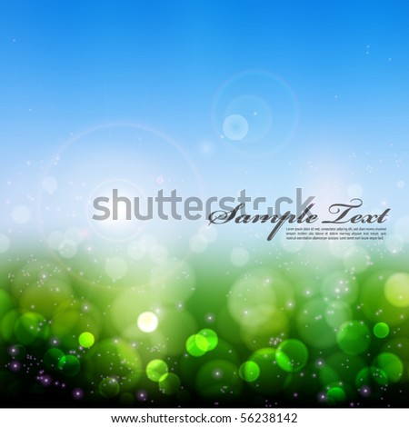Vector Blurry Light On Greenery - stock vector