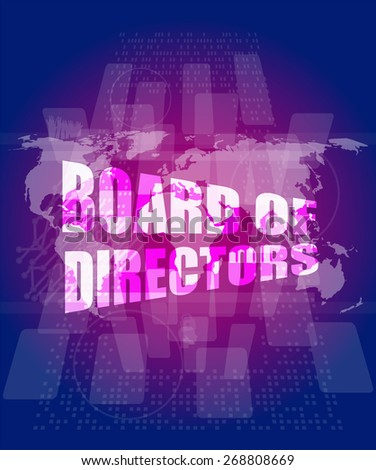 vector board of directors words on digital screen background with world map - stock vector
