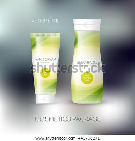 Vector body care cosmetics design concept. Tube cream and shampoo bottle. Packaging template. Green tones - stock vector