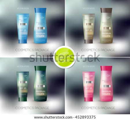 Vector body care cosmetics designs collection. Tube cream and shampoo bottle. Packaging templates.  - stock vector