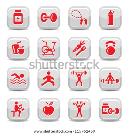 Vector Bodybuilding And Fitness Icon Set for web and mobile. All elements are grouped. - stock vector