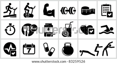 Vector bodybuilding icons set. All white areas are cut away from icons and black areas merged. - stock vector