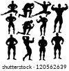 Vector bodybuilding silhouettes - stock photo