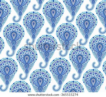 Vector Boho Chic Paisley Seamless Pattern Elegant Oriental Background For Wallpaper Gift Paper