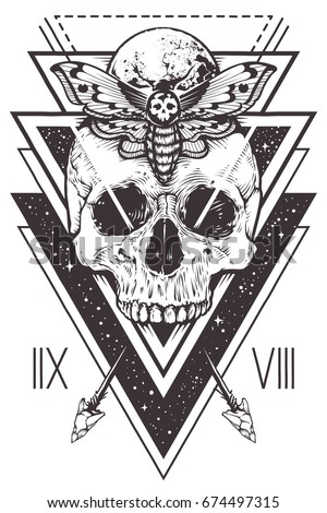 Vector Boho Design Of Skull With Hawk Moth And Sacred Geometric Elements Arrows Hipster
