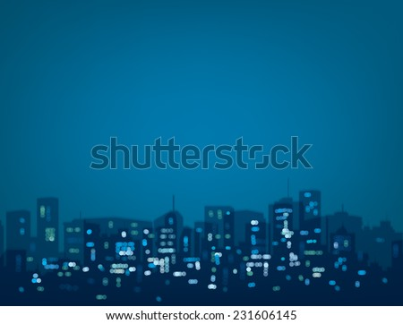Vector bokeh night city background in blue colors. - stock vector