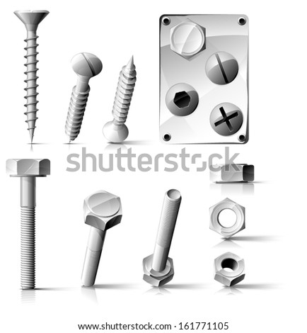 Vector bolts, nuts & screws - stock vector