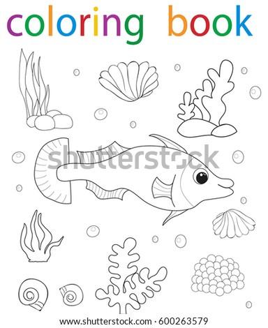 Book coloring cartoon fish character sea stock vector for Colorful fish book