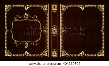 Vector book cover. Decorative vintage frame or border to be printed on the covers of books. Aspect ratio standard 1,65. Book format can be 75?90mm. Color can be changed in a few mouse clicks. - stock vector