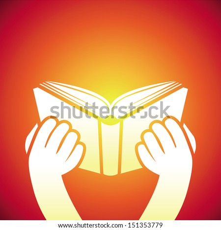 Vector book icon - hands holding textbook - education concept - stock vector