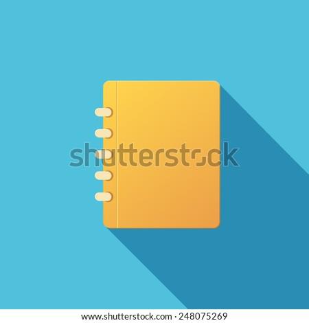 Vector Book Icon. Notebook. Long shadow effect - stock vector