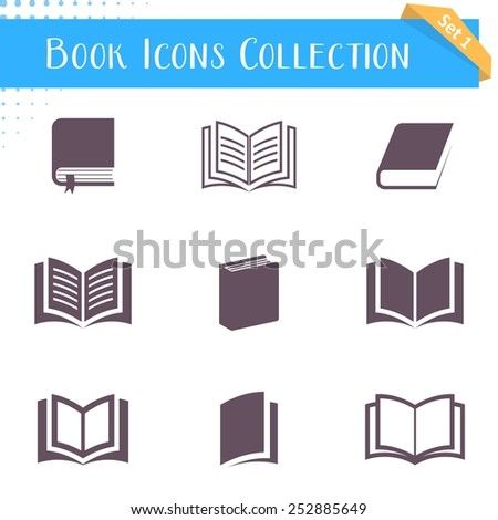 Vector book icons collection isolated on white background - stock vector