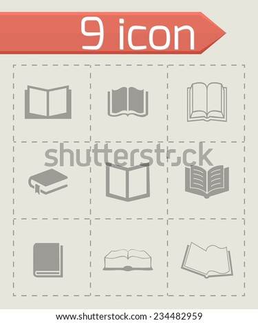 Vector book icons set on grey background - stock vector