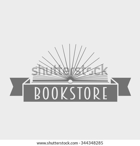 Vector book store or library logo illustration. Icon template for education, company or store.  - stock vector