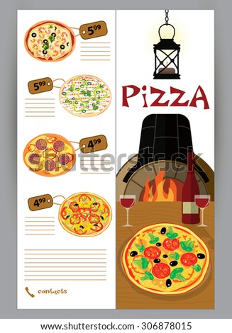 Vector booklet, flyer, leaflet menu for pizza restaurants and pizzerias delivery illustrations - stock vector