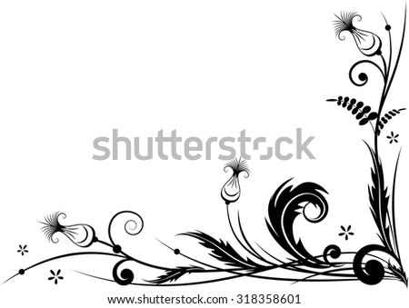 vector border for corner design with stylized thistle in black and white colors - stock vector