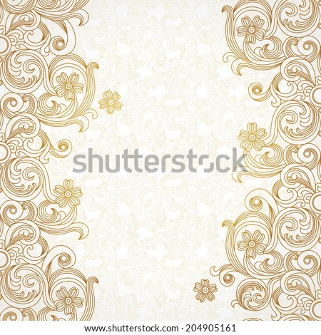 Vector border in east style. Ornate element for design and place for text. Ornamental lace pattern for wedding invitations and greeting cards. Traditional decor. - stock vector