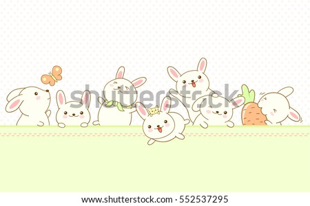 Vector border with Easter rabbits and background with dots pattern
