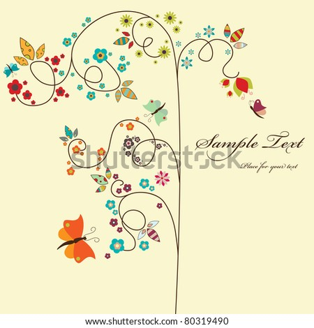 Vector border with tree and small flowers - stock vector