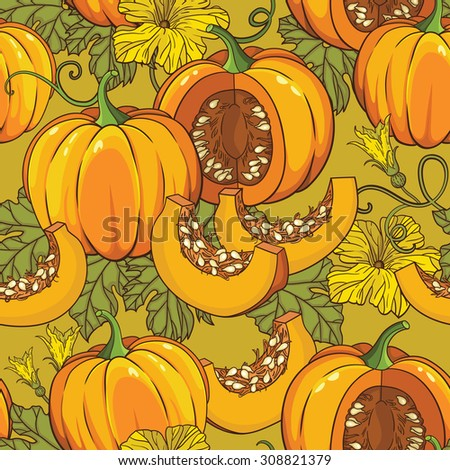 Vector botanical pattern with pumpkins, flowers and leaves - stock vector