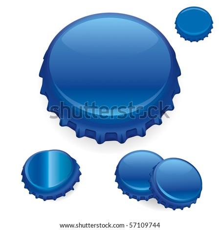 """Vector Bottle Caps - Blue  """"Full compatible - gradients"""" - stock vector"""