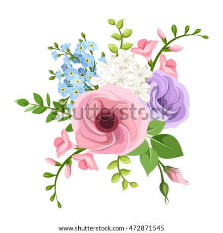 Vector bouquet of pink, purple, blue and white lisianthuses, freesia and forget-me-not flowers.