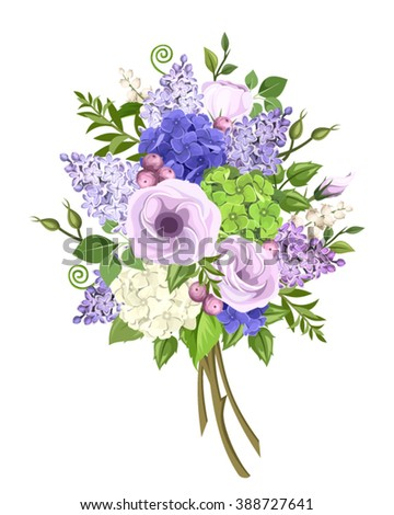 Vector bouquet of purple, blue, white and green lisianthus, lilac and hydrangea flowers and green leaves isolated on a white background.