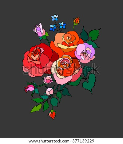 Vector bouquet of roses in the style of pop art greeting card. - stock vector