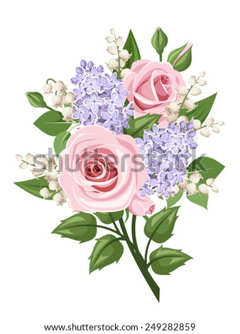 Vector bouquet with pink roses, lily of the valley and lilac flowers isolated on a white background. - stock vector