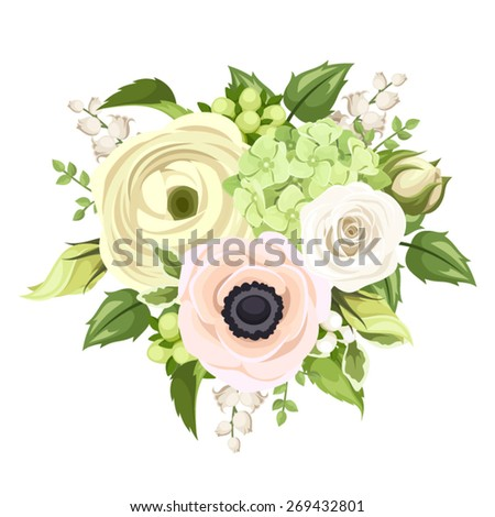 Vector bouquet with white rose, ranunculus, pink anemone, green hydrangea, lily of the valley flowers and green leaves isolated on white. - stock vector