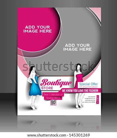 Vector Boutique Store Flyer Magazine Cover & Poster Template. - stock vector