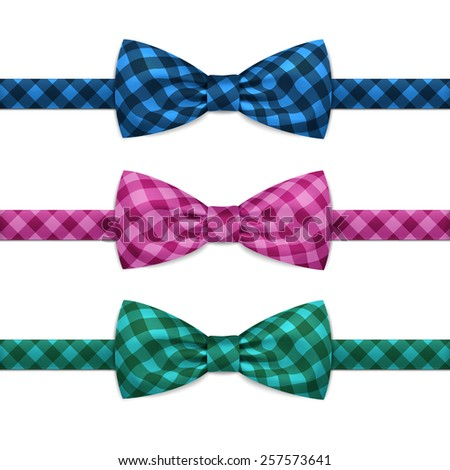 Vector Bow Tie Bowtie Set Isolated on White Background - stock vector