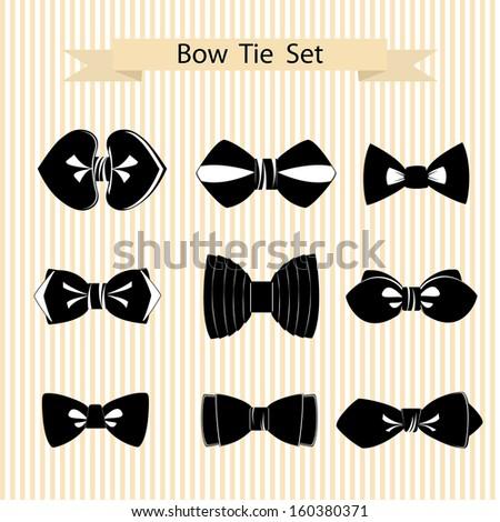 vector bow tie set - stock vector