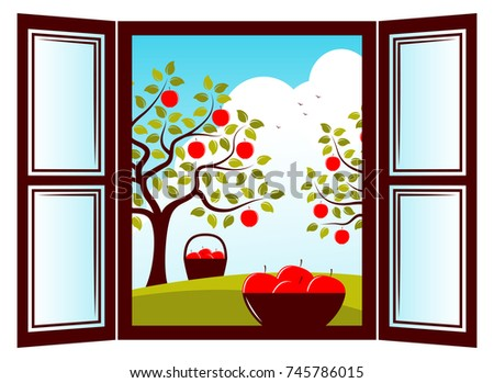 cats on appletrees vector bowl of apples in the window and apple trees outside familienplaner