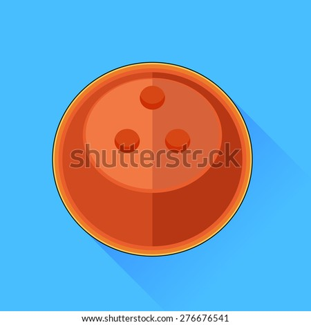 Vector Bowling Ball Icon Isolated on Blue Background. - stock vector